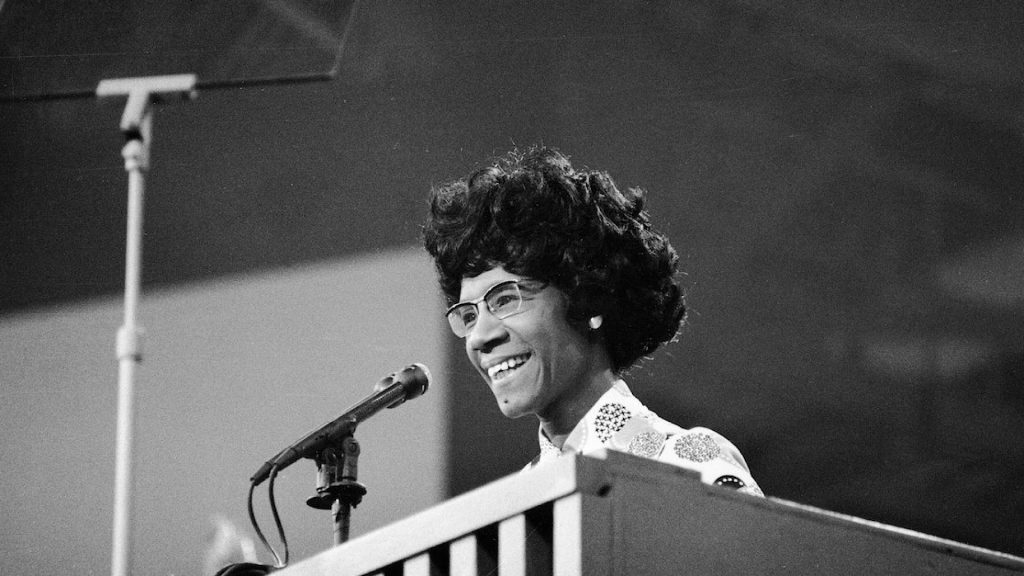 African American educator and U.S. Congresswoman Shirley Chisholm speaks at a podium at the Democratic National Convention, Miami Beach, Florida, July 1972. (Photo by Pictorial Parade/Getty Images)